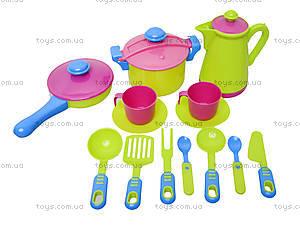 Детская игрушечная тележка с набором посуды, 36-005, toys.com.ua