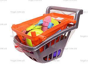 Детская игрушечная тележка с набором посуды, 36-005, toys