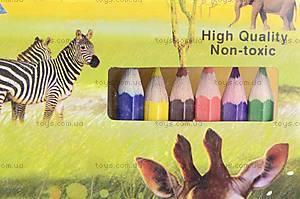 Трафарет с карандашами «Дикие животные», 84517B, фото