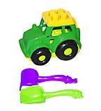 Трактор Кузнечик №1, зеленый (лопатка + грабли), 0206
