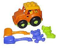 Трактор Кузнечик  №2 (оранжевый) с песочным набором, 0213