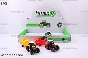 Трактор металлический с прицепом, MY66-008