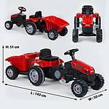 Веломобиль Трактор педальный с прицепом (клаксо, сидение регулируемое) красный, 07-316RED, toys