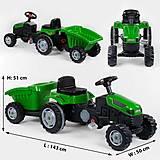 Веломобиль Трактор с прицепом (клаксон, сидение регулируемое) зеленый, 07-316GREEN, іграшки