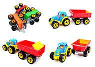 Детский игрушечный трактор с прицепом для детей, 3442, фото