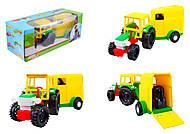 Детский игрушечный трактор с прицепом, 39009, купить