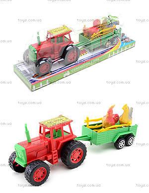 Игрушечный трактор с прицепом и животными, 855A-58B
