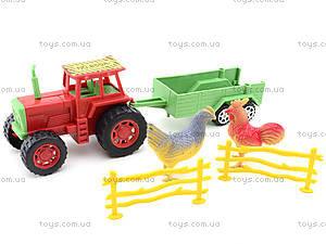 Игрушечный трактор с прицепом и животными, 855A-58B, цена