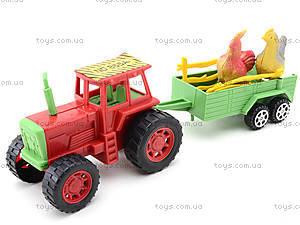 Игрушечный трактор с прицепом и животными, 855A-58B, игрушки