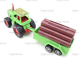 Инерционный трактор с грузовым прицепом, 855A-57B, игрушки