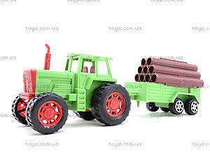 Инерционный трактор с грузовым прицепом, 855A-57B, детские игрушки