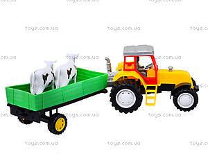 Инерционный трактор с прицепом и коровами, 986-3A, купить