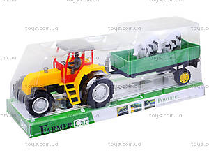 Инерционный трактор с прицепом и коровами, 986-3A, фото
