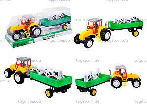 Инерционный трактор с прицепом и коровами, 986-3A
