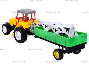 Инерционный трактор с прицепом и коровами, 986-3A, цена