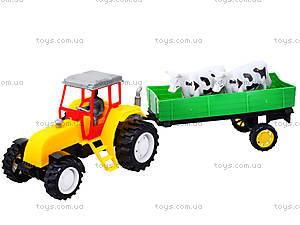 Инерционный трактор с прицепом и коровами, 986-3A, игрушки