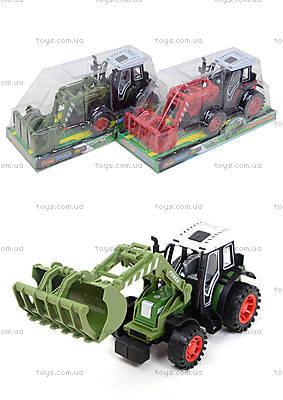 Зеленый/красный инерционный трактор, 4007A-1
