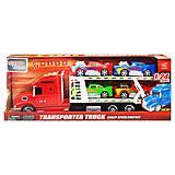 Трейлер - автовоз с машинками красный (666-61E), 666-61E, фото