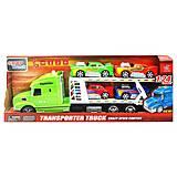Трейлер - автовоз с машинками зеленый, 666-61E, купить