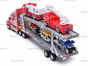 Трейлер и две пожарных машинки, 520-2, детские игрушки