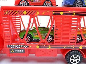 Трейлер инерционный и 4 машинки, 7719, игрушки