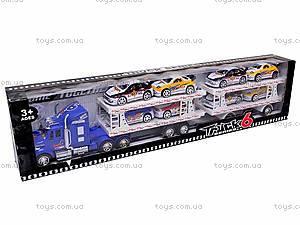 Трейлер инерционный и 8 машинок, YF559-12C, купить