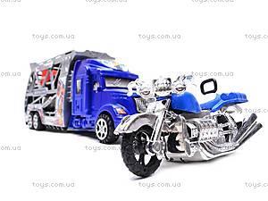 Трейлер инерционный с машинками и мотоциклом, 598-4, купить