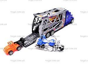 Трейлер инерционный с машинками и мотоциклом, 598-4, фото