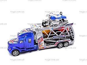 Трейлер инерционный с машинками и мотоциклом, 598-4