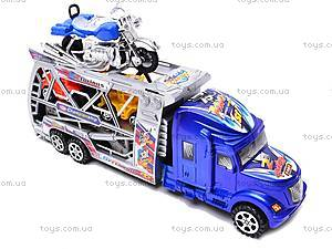 Трейлер инерционный с машинками и мотоциклом, 598-4, цена