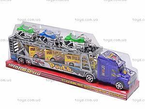 Трейлер инерционный с набором транспорта, 9098-12, купить
