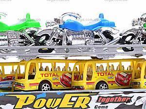 Трейлер инерционный с набором транспорта, 9098-12, игрушки