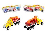 Детский инерционный трейлер, с пожарной машиной, 909-5, фото