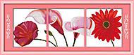 Триптих «Красные цветы», вышивка картины, H136