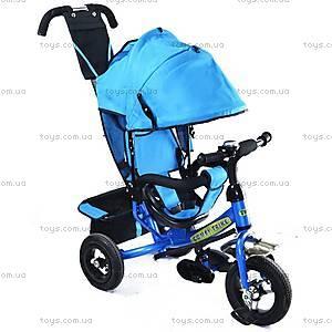 Велосипед трехколесный с ручкой, голубой, BT-CT-0004 LI