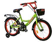 """Велосипед 18 дюймов """"CORSO"""" (ручной тормоз, звоночек, сидение мягкое), салатово-красный, G-18560, фото"""