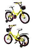 """Велосипед 18 дюймов """"CORSO"""" (звоночек, сидение мягкое, дополнительные колеса) лимонно-фиолетовый, G-18175"""