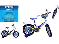 Велосипед 2-х колесный 12 дюймов, со звонком, зеркалом, без ручного тормоза, синий, PP1204, купить
