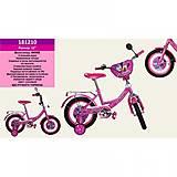 """Велосипед 2-х колесный, диаметр 12"""" (без ручного тормоза, розовый), 181210"""