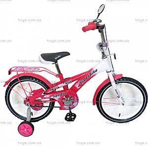 Велосипед 2-х колесный Super Bike, розовый, 141606-P