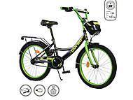 """Велосипед 20 дюймов """"CORSO"""" (ручной тормоз, звоночек, мягкое сидение) черно-зеленый, G-20288, купить"""
