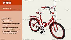 Велосипед двухколесный, красный с узором, 152016