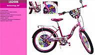 Велосипед малиновый 20'' с подножкой, 182006, фото