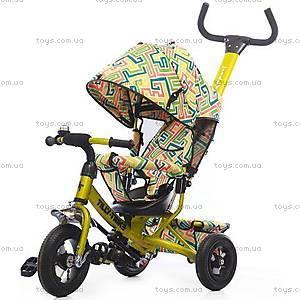 Велосипед трехколесный желтый с надувными колесами, T-351-3Желтый