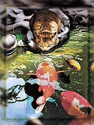 Вышивка бисером «Кот и карпы кои», ВБ 1048