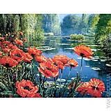 Вышивка бисером «Маки у пруда», ВБ 1051