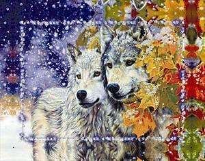 Вышивка бисером «Пара волков», ВБ 1047