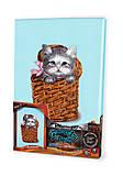 Вышивка гладью по номерам «Котик в корзине», VGL-02-03, набор