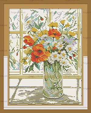 Вышивка картины «Цветы на окне», H244