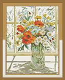 Вышивка картины «Цветы на окне», H244, купить